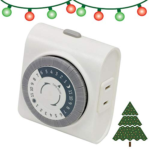 GE 24-Hour Indoor Plug-in Mechanical Timer, 1 Polarized Outlet, 30 Minute Intervals, Daily On/Off Cycle, for Lamps, Portable Fans, Seasonal, Christmas Tree Lights, UL Listed, 15076, Other