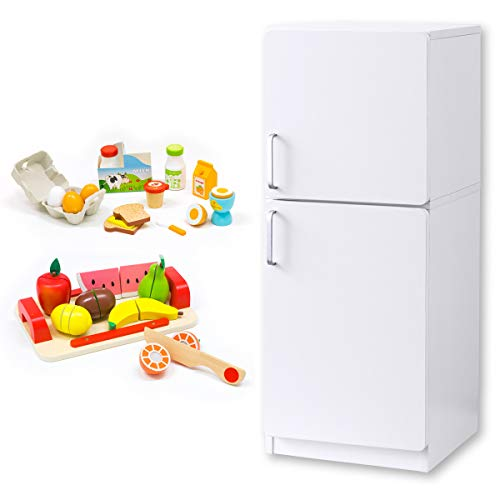 RiZKiZ おままごとキッチン 冷蔵庫 【ホワイト】 キッズサイズの冷蔵庫 & 詰め合わせフルーツセット & モーニングセット 木製 子供用 収納 知育玩具 ままごとセット