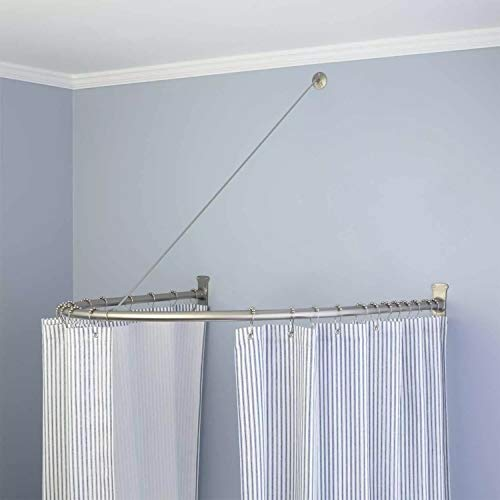 Naiture Half-Oval Aluminum Shower Curtain Rod with Swivel...