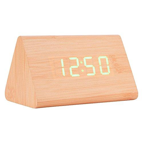 Hakeeta digitale driehoekige houten wekker, Dual Time Mode (12/24), datum temperatuurweergave led-display klok, met zachte LED-verlichting, 3 alarminstellingen