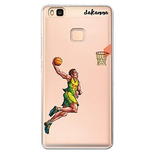 dakanna Funda para Huawei P9 Lite | Jugador de Baloncesto | Carcasa de Gel Silicona Flexible | Fondo Transparente