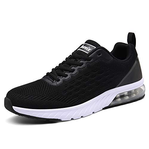 Voovix Laufschuhe Damen Herren Sportschuhe Straßenlaufschuhe Sneaker Outdoor Turnschuhe Leichte Atmungsaktiv Fitnessschuhe(Black,42)