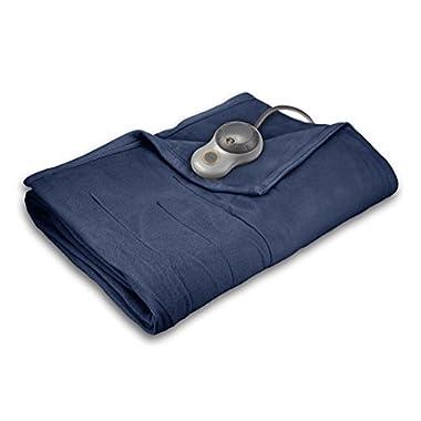 Sunbeam Quilted Fleece Heated Blanket with EasySet Pro Controller, Twin, Newport Blue