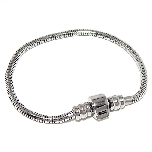 Stainless Steel Starter Charm Bracelet Barrel Snap Clasp Unscrew END Fits Pandora Charms (9 inch)