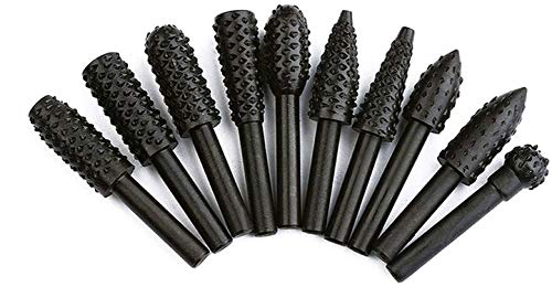 Linkhood 10-Pack Woodworking Twist Drill Bits, Wood Carving File Rasp Drill Bits 3mm(1/8