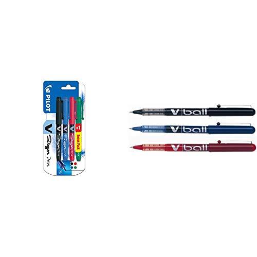 Pilot V-sign - Juego de bolígrafos (4 unidades), color negro, azul, rojo y verde + 130300300 V-Ball - Rotulador, variados, 3 unidades