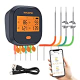 Inkbird WiFi Grill Thermometer IBBQ-4T, Rechargeable Wireless Meat Thermometer with 4 Probes, Calibration, Timer, High and Low Alarm, Digital WiFi BBQ Meat Thermometer for Smoker, Oven, Kitchen, Drum