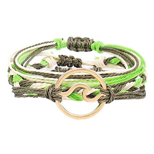 Boburyl Pulseras Ajustable Trenzada Cuerdas Pendiente de la aleación Galvanizado laminadas muñeca joyerías