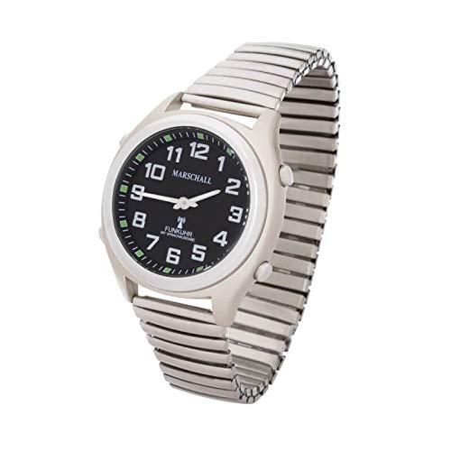 Sprechende Funk-Armbanduhr Metall-Zugarmband Black