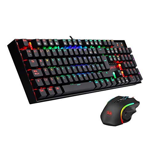 Pack Redragon K551RGB-BA, Combo teclado y ratón para juegos RGB, teclado Mitra mecánico interruptores Outemu Box Blue distribución España, anti salpicaduras + ratón Griffin Pixart 7200DPI