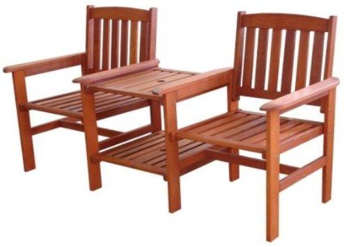 furni24 FSC Gartenbank Tete a Tete Bank mit Tisch Meranti Holz