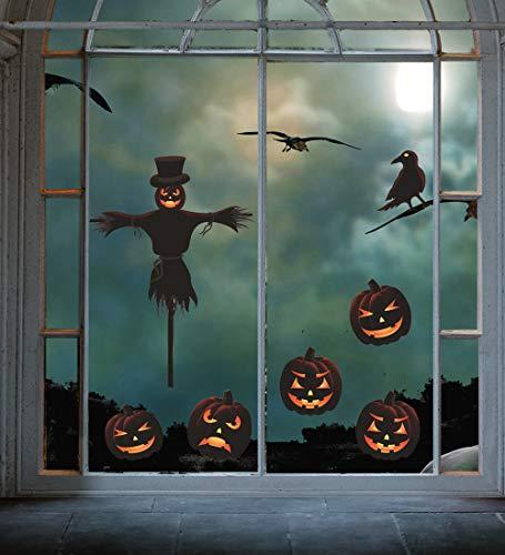 UMIPUBO Halloween Pegatinas Pumpkin Pegatinas para Pared Halloween Etiqueta de la Ventana Reutilizable Halloween Fiesta Casa Tienda Oficina Decoración(4 Hojas) (A)