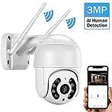 Al Aire Libre Cámaras Seguridad, Cámaras Vigilancia Zoom Visión Nocturna del Color 1080P PTZ Digital WiFi Cámara IP Inicio Seguridad Humana Detección Audio Bidireccional,3mp+32gb