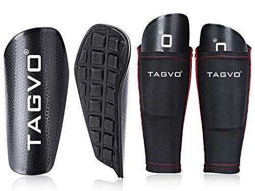 TAGVO Soccer Shin Guards mit Ärmel, Kinder Fußball Ausrüstung mit Taschen Kompressionswade Ärmel, Jugend Größen Performance Fußball Schienbeinschoner für Jungen Mädchen