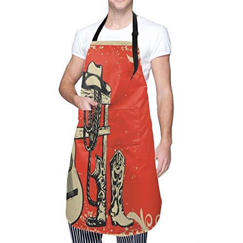 MAYBELOST Ajustable Colgante de Cuello Personalizado Delantal Impermeable,Cartel de música country occidental con ropa de vaquero y guitarra musical,Babero de Cocina Vestido con 2 Bolsillos