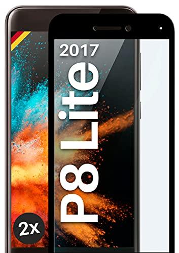 moex Full Screen Panzerglas kompatibel mit Huawei P8 Lite 2017 - Schutzfolie randlos, ganzer Display, Curved 3D Schutzglas Folie, Clear 2X Schwarz