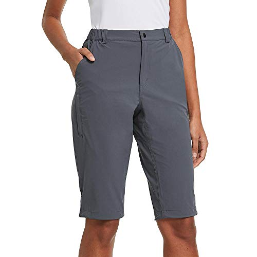 BALEAF Women's Quick Dry Stretch Hiking Cargo Camping Shorts Lightweight Water Resistant Summer Nylon Active Travel Grey Size XL