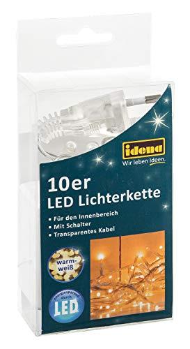 Idena 31116 - LED Lichterkette mit 10 LED in warm weiß, mit Schalter, für Partys, Weihnachten, Deko, Hochzeit, als Stimmungslicht, ca. 2,40 m