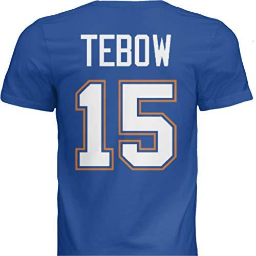 Hall of Fame Sports Memorabilia NWT New Tebow #15 Florida Blue Custom Screen Printed College Football T-Shirt Jersey No Brands/Logos Men