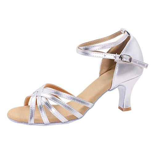 iCKER Women's Professional Latin Dance Shoes Satin Salsa Ballroom Wedding Dancing Shoes 2.4'' Heel 5.5 Silver