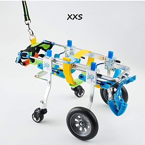 Hunderollstuhl, verstellbar Vollstützen Haustier Rollstuhl 4 Räder Hundewagen Vorder- und Hinterbeine Rehabilitation für behinderte kleine Hunde Hündchen Welpe Katze