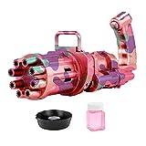 Doans Ametralladora de burbujas Gatling máquina de burbujas Gatling de camuflaje fabricante de burbujas de gran cantidad de 8 orificios con ventilador Pistola de juguete eléctrica para enjoyable