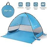 Glymnis Tenda da Spiaggia per Esterni Portatile 3-5 Persone Parasole Spiaggia Pop up, Protezione Solare UPF 50+, Blu (Manuale Video) (Bigger Size)