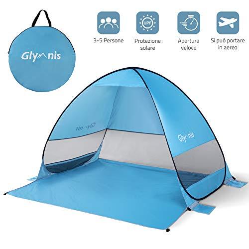 Glymnis Tenda da Spiaggia per Esterni Portatile3-5 Persone Parasole Spiaggia Pop up, Protezione Solare UPF 50+, Blu (Manuale Video) (Garanzia di 2 Anni) (Bigger Size)