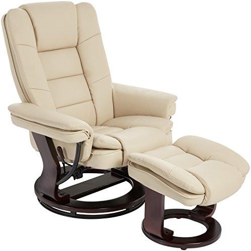 JC Home Argus Ultra-Plush Bonded Leather Swiveling Recliner with Mahogany Wood Base and Matching Ottoman - Vanilla