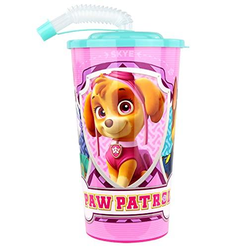 POS 29433 - Trinkbecher mit angesagtem Paw Patrol Motiv, mit Strohhalm, Fassungsvermögen circa 500 ml, aus Kunststoff, bpa- und phthalatfrei, für Zuhause und Unterwegs