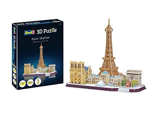 Revell 3D Puzzle 00141 Paris Skyline mit Notre Dame, Louvre, Triumphbogen und Eiffelturm Die Welt in 3D entdecken, Bastelspass für Jung und Alt, farbig