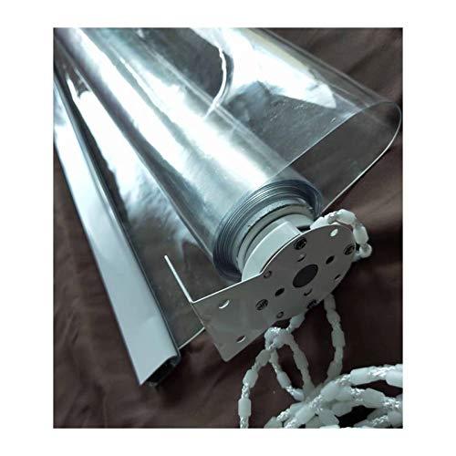 Externo Kit De Persiana Enrollable, Pantalla A Prueba De Viento, PVC Transparente Impermeable Anti Estático Aislamiento para Oficina Mostrador De Recepción, Balcón, Pérgola