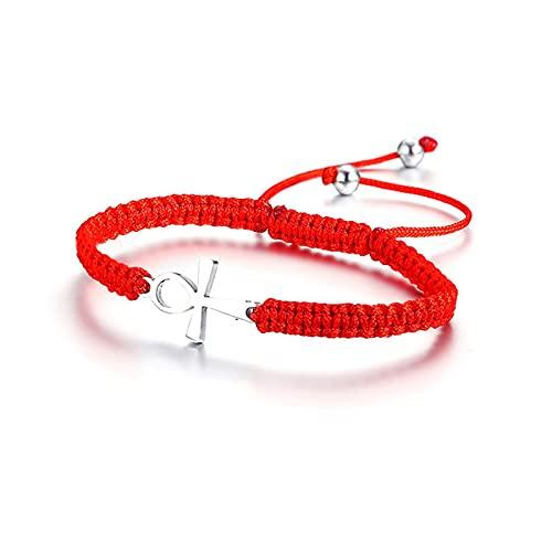 Pulseras De Kabbalah Con Cordón Rojo Y Cruz Ankh Para Mujer, Protección Del Éxito Y Pulsera De Cadena De Eslabones De La Suerte, Tamaño Ajustable