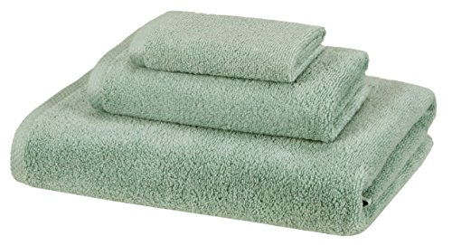 AmazonBasics 3 Piece Cotton Quick-Dry Bath Towel Set - Seafoam Green AmazonBasics Quick-Dry, Luxurious, Soft, 100% Cotton Towels, Seafoam Green - 3-Piece Set