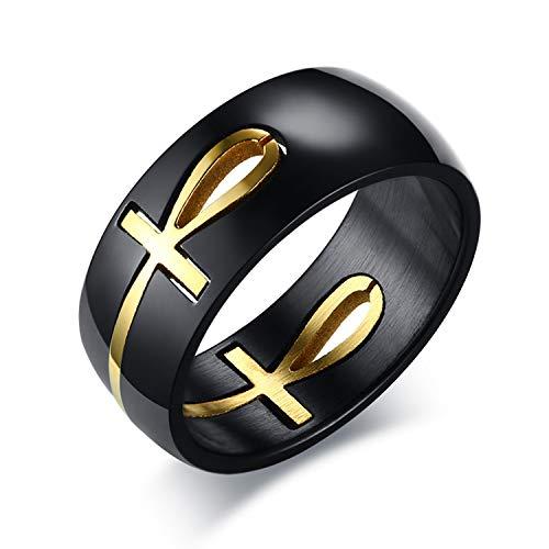 Oidea - Anillo de hombre Ankh Egipto egipcio, cruz extraíble, de acero inoxidable, color negro y dorado, tamaño a elegir