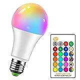 LemonBest Bombillas LED Colores RGBW Bombilla Regulable Cambio de Color E27 15W para Casa/Decoración/Bar/Fiesta/KTV - RGB Control remoto Incluido