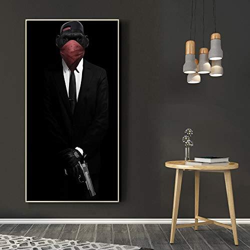Leinwand Malerei Tieraffe Wandkunst Poster hält Pistole Pistole Wandkunst Haus Dekoration,Rahmenlose Malerei-70X125cm