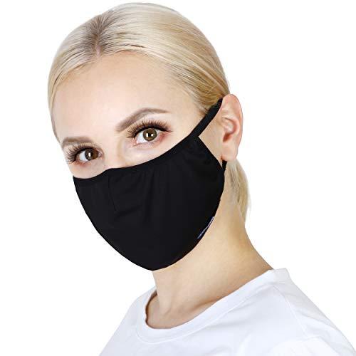 GEO-TECH Nasen- und Mundbedeckung für Erwachsene, waschbar, wiederverwendbar, atmungsaktiv, mit Filtertasche, 3er Pack / 5 Stück erhältlich - Schwarz - L (15 cm W*24 cm L)