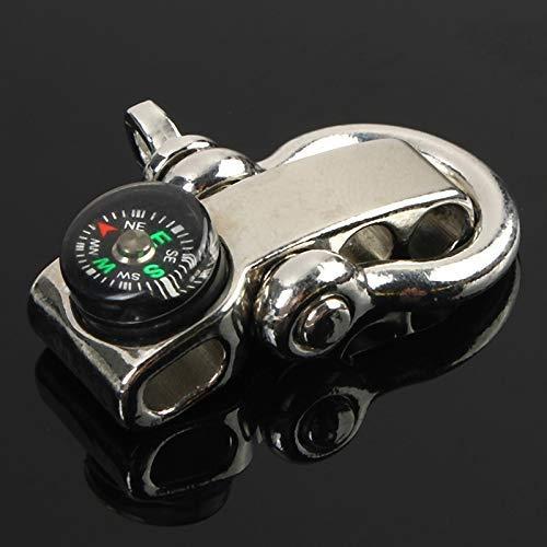 GYC Professionelle wasserdichte verstellbare U-Form Anker Schäkel Outdoor Survival Rope Armband Schnalle mit Mini für Kompass