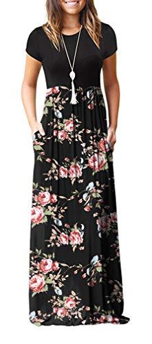 GRECERELLE Women's Short Sleeve Floral Print Loose Plain Maxi Dresses Casual Long Dresses with Pockets FP-Rose Black Medium