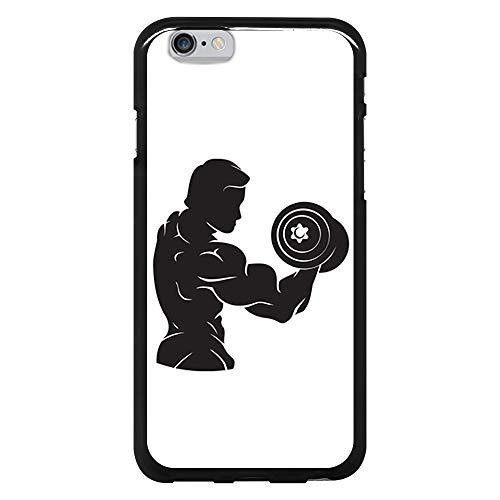 BJJ SHOP Schwarz Hülle für [ iPhone 6 / iPhone 6s ], Klar Flexible Silikonhülle, Design: Bodybuilder Mann mit Hanteln, Bizeps