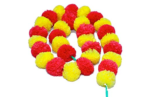 ZT Indian Home Decorative Flower Mala for Decorate Your Home in Festival 12 Pcs 1 Meter Each.Garlands