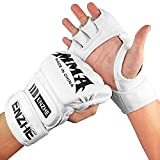 ENZHE MMA Gloves Men Women, UFC Kickboxing Sparring Punching Heavy Bag Fingerless Boxing Gloves for Training (White)