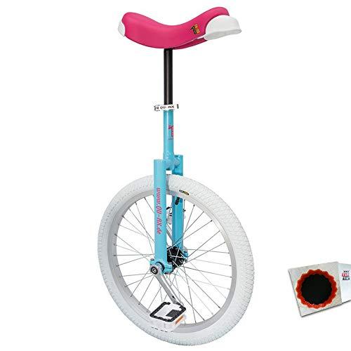 QU-AX Einrad Luxus 20Zoll blau/pink Alufelge Reifen Weiss + SCHLAUCHFLICKEN