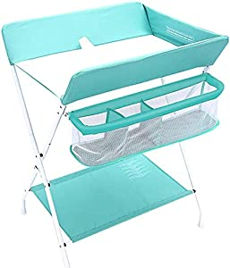 CWJ Small Bed for Look After Baby Without Bending Over  Baby Changing Table Blue Infant Storage Unit Dresser Foldable Cross Portable Care Station with Safety Straps  Save Space Storage Desk