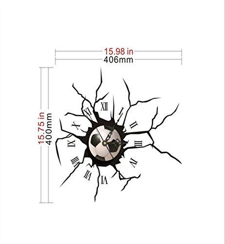 Sucastle® 40CMx40.6CM PVC Horloge Murale Silencieuse Moderne Horloge Pendule Murale Style Vintage Horloge avec Décoration Maison 3D DIY Pendule Murale Moderne Métallique Horloge
