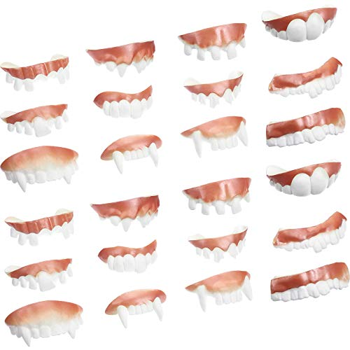 Gnarly Teeth Gag Teeth Ugly Fake Teeth Bob Teeth Vampire Denture Teeth for Halloween Costume Party Favors, 12 Styles (White, 24 Pieces)