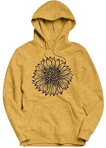 Sunflower Hoodie Women Lightweight Cute Graphic Long Sleeve Drawstring Hooded Pullover Sweatshirt Fall Casual Cotton Top (Yellow, XX-Large)