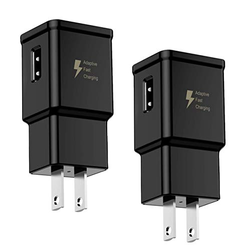 2 Pack Adaptive Fast Charging Wall Charger Adapter Compatible Samsung Galaxy S8 S9 S10 S10e S6 S7 /Edge/Plus/Active, Note 5,Note 8, Note 9, EP-TA20JBE & Other Smartphones/Devices, Quick Charge