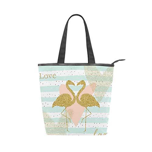 MNSRUU Große Canvas-Handtasche, Strandtasche, Reisetasche, Einkaufstasche, Kreativitätskarte mit goldenem Glitzer, Flamingo, Sommerurlaub, Reißverschluss Handtasche für Damen, Mädchen